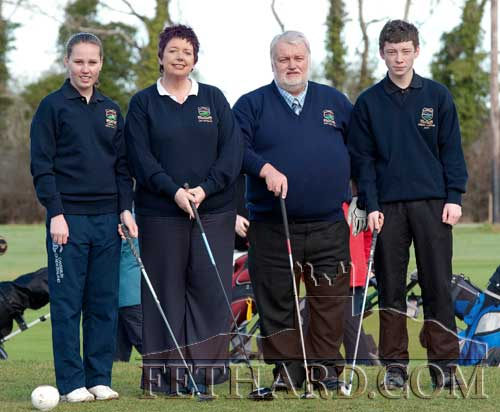 At the Captains Drive In at Slievenamon Golf Club on 13th February are L to R: Abbie Kiely (Girls Junior Captain), Patricia Walsh (Lady Captain), Brendan Kenny (Gents Captain) and Ciarán O'Meara (Boys Junior Captain)