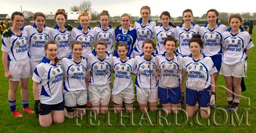 The Fethard Ladies Minor Football Team are through to the County Final on Sunday, November 20. Pictured Back L to R: Ruby Kennedy, Emma Walsh, Annie Prout, Rachel Prout, Mary Jane Kearney, Ciara Tillyer, Lucy Butler, Aimee Pollard, Karen Hayes, Aobh O'Shea, Cliodhna O'Connor. Front L to R: Lorna Walsh, Leanne Sheehan, Katie Butler, Jessie McCarthy, Jean Anglim, Hannah Dal, and Faye Manton.