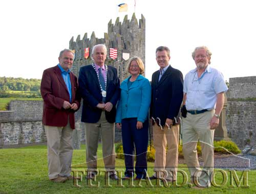 Photographed at the launch of Fethard Historic Town Trail are L to R: Cllr John Fahey; Cllr Liam Ahearne, chairman South Tipperary County Council; Eileen Horgan, Community & Enterprise, South Tipperary County Council; Gary Breen, Manager of Fáilte Ireland South East; and Terry Cunningham, Backs to the Wall Tours.