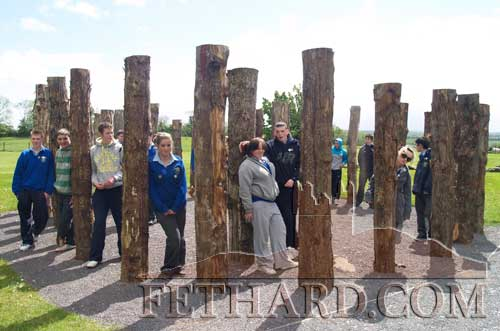 Students at a 'woodhenge' on the grounds of Knowth, on one of the two other mounds at Newgrange, the other one being Dowth. (Photo: Pat Looby)