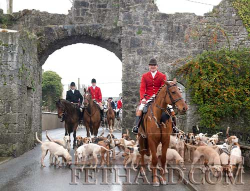 Huntsman Derry Donegan leading the Tipearary Foxhounds through the North Gate at the Opening Meet in Fethard on Monday, October 31.