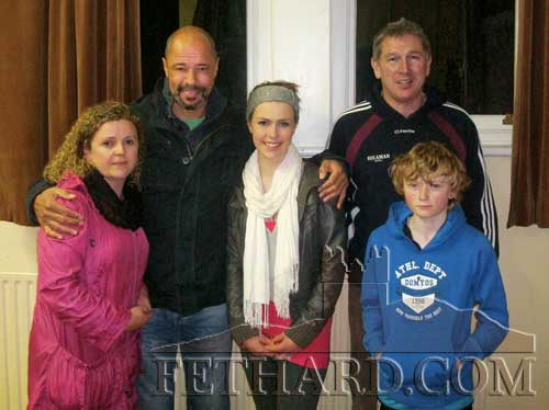 Ireland soccer legend Paul McGrath photographed with the Quigly family from Fethard when he visited the Moyglass Soccer Club's training session on November 7. L to R: Mandy Quigley, Paul McGrath, Kate Quigley, Willie Quigley and Liam Quigley.