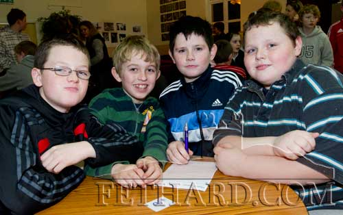 Taking part in the Community Games Area Table Quiz finals at Fethard were L to R: Evan Murphy, Josef O'Connor, Jonathan Hennessy, Anthony Paul O'Reilly.