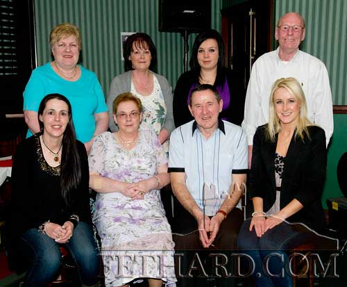 Photographed at the retirement party for Joe Keane, St. Patrick's Place, are Back L to R: Kay Bowe, Martina O'Connell, Sarah O'Connell, Eddie Bowe. Front L to R: Dorothy Keane, Ann Keane, Joe Keane and Jennifer Keane.