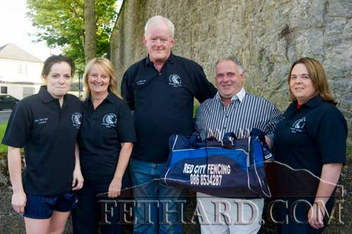 L to R: Sandra Maher (St. Rita's Camogie Club), Marie and Mick Smyth (The Well Bar) who sponsored t-shirts, Matt Dwyer (Red City Fencing) who sponsored gear bags, and Sharon O'Meara (St. Rita's Camogie Club). Missing from the photograph is Sparkie from the Lantern Takeaway who sponsored socks.