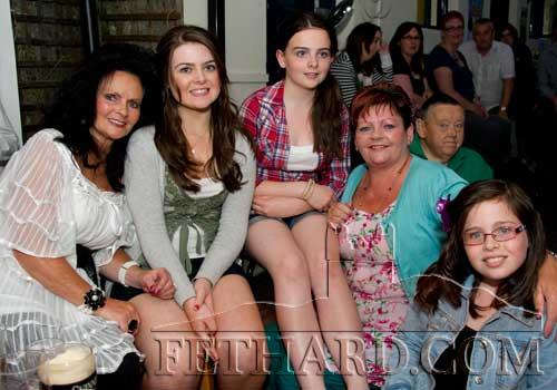 Photographed at the X-Factor final in Lonergan's are L to R: Breda Dwyer, Cailín O'Neill, Bláithín O'Neill, Marie O'Dornan and Aideen O'Neill.