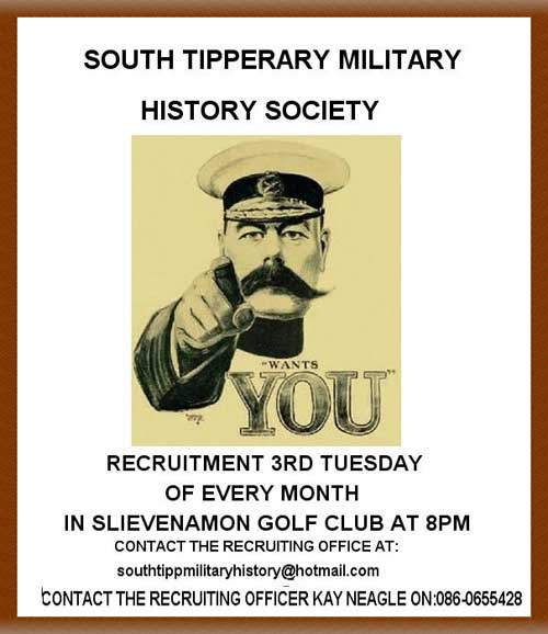 Recruitment for South Tipperary Military History Society