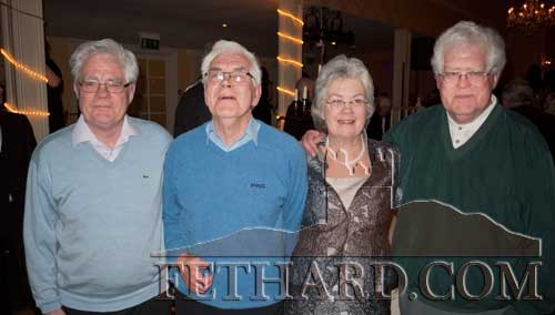 Kay Wallace, the May monthly winner at the Tipp FM Art & Entertainment Awards Ball in Dundrum House Hotel, photographed with her brothers. L to R: Sean O'Gara, Matt O'Gara, Kay Wallace and Tom O'Gara.