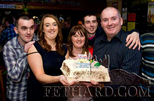 Francis Lonergan photographed with family on the occasion of his 50th birthday celebrated last weekend in Butler's Sports Bar, Fethard.
