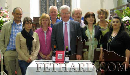 Gerard Crotty photographed with members of the Fethard Historical Society at the book klaunch. L to R: Peter Grant; Marine Legoupil, Brand Ambassador for Barton and Guestier in Ireland; CAtherine O'Flynn, Tim Robinson, Gerard Crotty (author), Terry Cunningham, MAry HAnrahan, Dóirín Saurus and Pat Looby.