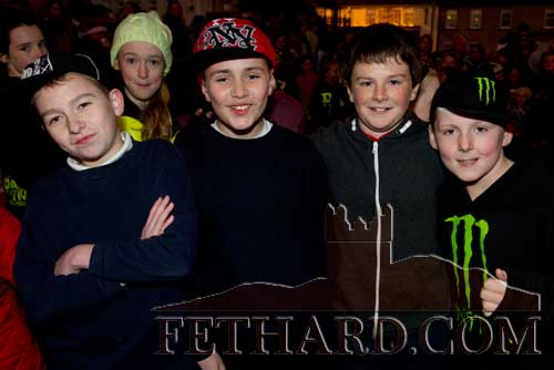 Taking part in the Festive Friday Celebrations in Fethard were L to R: Shane Lawless, Cian O'Brien, Conor Harrington and Kyle Allen