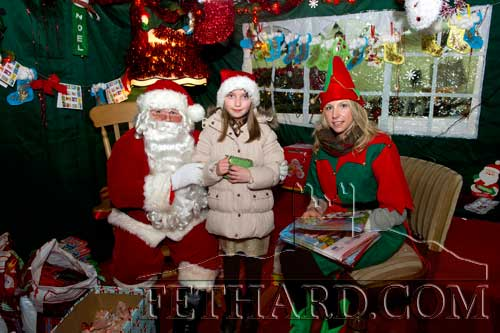 Rachael O'Loughlin visiting Santa at the Christmas Craft Fare in Fethard
