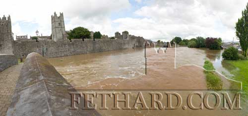 On Monday, August 13, Fethard experienced its worst flooding in many years when, after heavy rainfall overnight, the Clashawley burst its banks and caused severe flooding in the Valley area. A wall opposite Glanbia Country Life store collapsed under the pressure and caused flooding on the Knockbrack Road. Houses at Abbeyville were also affected with some older residents claiming it was the worst flooding they could recall in Fethard since 1947. The most obvious flooding was by Fethard Town Wall where floodlighting was completely submerged. This was also the site of the Annual Medieval Festival which is due to take place next weekend. Coincidently, this time last year when the Festival was due to take place, there wasn't a drop of water flowing in the Clashawley.