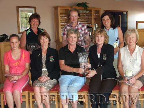 Ladies Presidents Prize at Slievenamon Golf Club. Back L to R: Patricia Walsh (3rd), Mary Butler (Committee Prize), Geraldine Meagher (Front 9). Front L to R: Abbie Kiely (2nd), Kathleen Shanley (Lady Captain), Norma O'Brien (Winner), Margaret Lalor (President), and Ann Delahunty (Gross).
