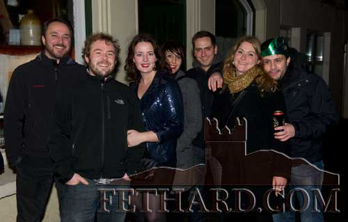Helena McCormack and her visiting friends photographed on New Year's Eve in Fethard.
