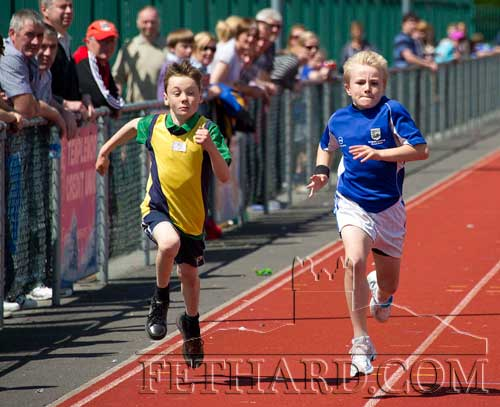 Caleb Molloy Hickey (left), Tipperary Town, finishing 4th and Ryan Walsh, Fethard, 3rd in the Boys U10 100m final