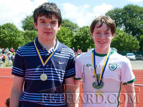L to R: David Heffernan (Fethard) who came 1st in the Boys U16 100m and Jack Dolan (Fethard), who came 3rd in the U14 100m.