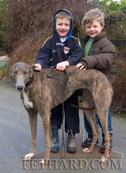 Michael Flanagan and Tom Murray (right) photographed with 'Coffee in Currow' trained by David Flanagan, Sunset Kennels, Fethard.