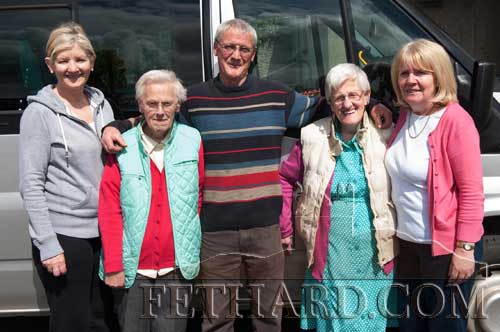 The Gleeson twins celebrating their 73rd Birthday at Fethard Day Care Centre. L to R: Geraldine McCarthy (Fethard & Killusty District Day Care Centre), Joan Gleeson, Michael Cleere (Centre's Bus Driver), Eileen Gleeson and Joan O'Donohoe (Fethard & Killusty Community Office)
