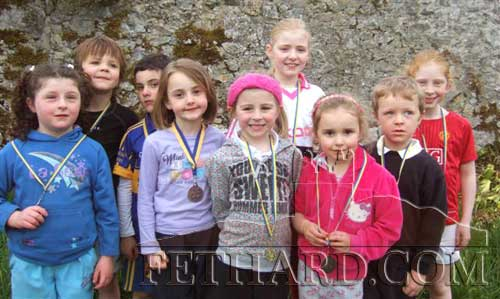 Children who all won medals in the recent Community Games Area Athletics. L to R. Amy Costin, Oisin Ryan, Danny Shelly, Aine Connolly, Emily Spillane, Ciara Daniel, Lily O'Mahoney, Liam Kiely and Kelly Ryan