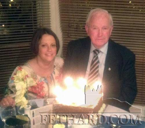 Dick Fitzgerald, St Patricks Place, Fethard, celebrating his birthday - 80 years young!  at Mr Bumbles, Clonmel recently. Dick is photographed above with his daughter Colette.