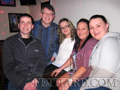 Photographed at 'Blind Date' in Lonergan's Pub are L to R: Brendan Higgins, Aidan Mac (compère), Katie O'Shea, Fiona Dorney and Rosanne Needham.