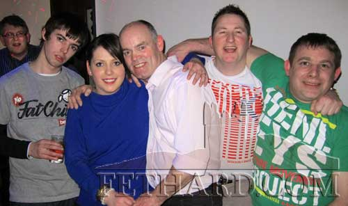 Photographed at 'Blind Date' in Lonergan's Pub are L to R: Stephen Murray, Ciara Hickey, Martin Shelly, James Dorney and Laurence McHugh.