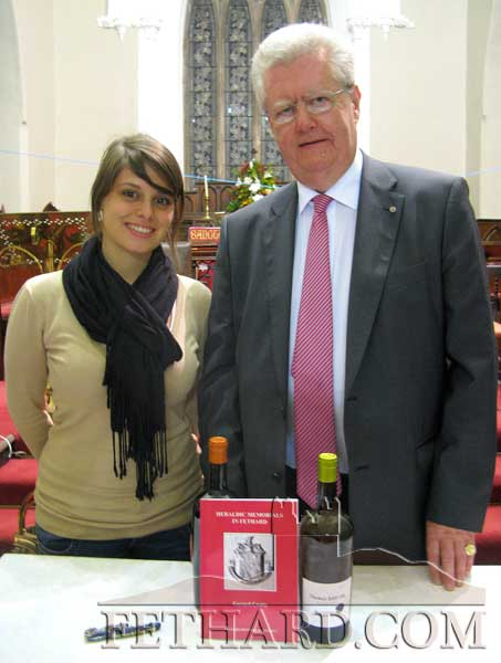 Marine Legoupil, Brand Ambassador for Barton and Guestier in Ireland, photographed with Gerard Crotty at the launch of his book, 'Heraldic Memorials in Fethard', The book was launched by Labhaoise McKenna, County Heritage Officer.