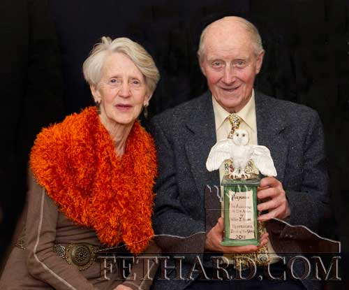 Willie Hayes, winner of Fethard Historical Society's 'Tipperariana Book of the Year' award for 2011 for his book, 'Holycross, The Awakening of the Abbey', photographed with his wife Maureen at a special reception held in the Abymill Theatre, Fethard on Saturday 28th January.