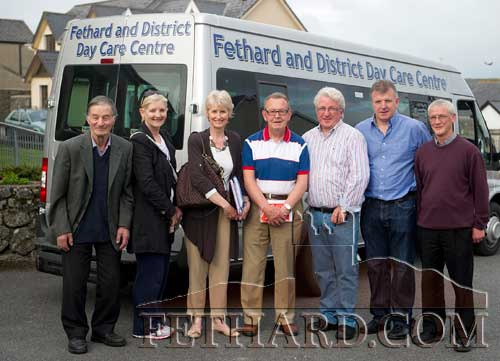Members of Fethard & District Day Care Centre photographed at the handing over of a new bus for the centre, part-funded by the HSE. L to R: Des Martin, Geraldine McCarthy, Fionnuala O'Sullivan, Jimmy Connolly, Liam Hayes, John Ward and Michael Cleere.