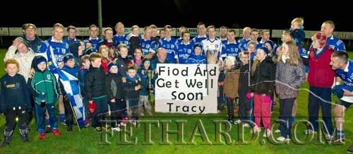 Fethard team and supporters send a 'Get Well' message to Tracy Walsh after their victory in the Junior B County Final on Saturday, November 24.