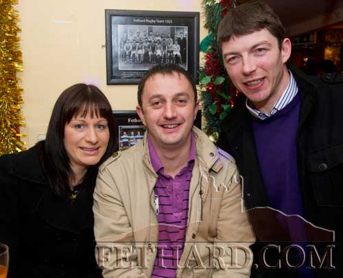 Enjoying a drink in Butler's Bar over Christmas were L to R: Ann Marie Hearne, M.J. Croke and Noel Barry