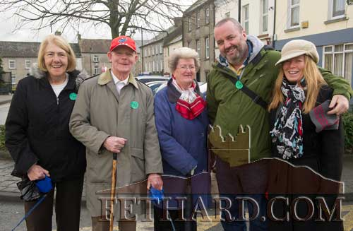 Photographed in Fethard on Christmas Day are L to R: Thelma Griffith, Michael Fitzgerald, Mary Fitzgerald, Denis Ryan and Sheena Fitzgerald-Ryan who were home for Christmas from Hong Kong.