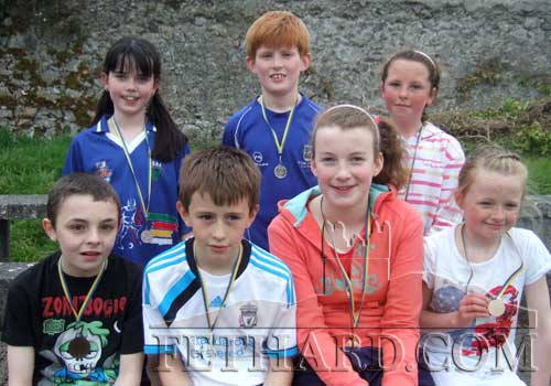 Medal winners in the under 12 and under 14 age group at community games area athletics. Back L to R: Megan Hackett, Cathal O'Mahoney, Megan Earl. Front L to R: Dylan Costin, Stephen Crotty, Aisling Gorey and Carrie Davey
