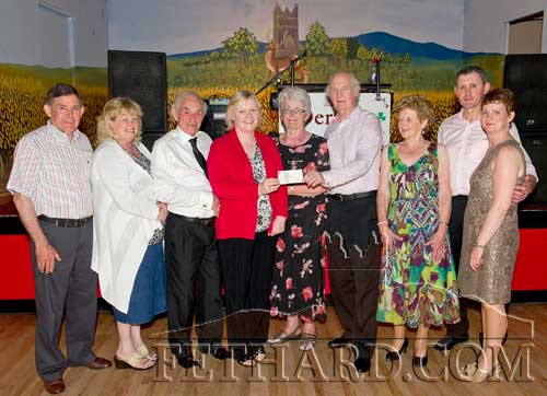 Fethard Ballroom and Dancing Club members presenting the proceeds from the  Mick Aherne Perpetual Trophy Dance Competition held in Fethard Ballroom. The total amount raised was €1,505 which was presented to South Tipperary Hospice at Fethard Ballroom dance on Sunday night. L to R: Pat Kirwan, Rosie Murphy (South Tipperary Hospice), Tony Marshall (Chairman Dancing Club), Majella O'Donoghue (South Tipperary Hospice), Monica Aherne, Billy Corcoran, Margaret Burke, Pat Fitzell and Breda O'Carroll.