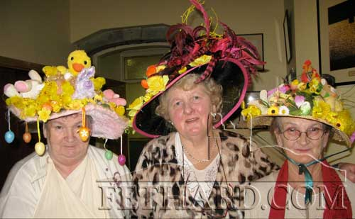 Pictured above at the Senior Citizens Club annual Easter Bonnet Competition are the winners L to R: 1st prize Margaret Thompson, centre in 2nd place Nellie Ryan and 3rd Eileen Ryan. Well done to all who submitted a wonderful array of Easter Bonnets.
