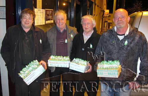 Selling Easter Lilies in Fethard last weekend were L to R: Éamonn Ó Fogartaigh, Marcus Fogarty, Ollie Ryan and Douglas Hannigan