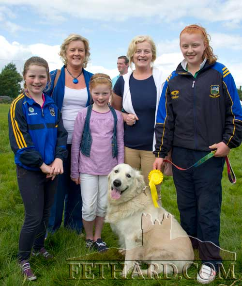 Photographed at the at the Coolmoyne & Moyglass Family Day Dog Show are L to R: Anna Ryan, Paula Kelly, Sarah Delaney, Mary Delaney and Lillian Kelly with their dog 'Blossom'.