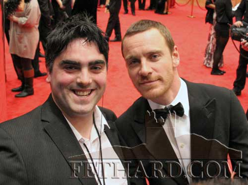 Ian O'Connor, Tipp FM , photographed with Michael Fassbender