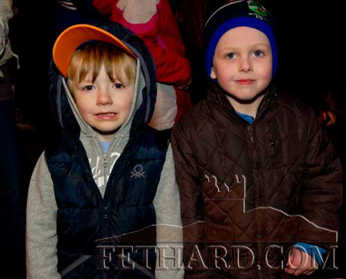 L to R: Bobby Purcell and Darragh Coleman waiting to meet Santa in Fethard