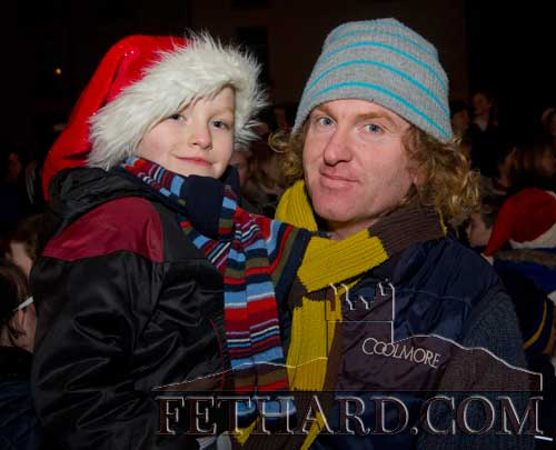 Michael 'Magic' Ryan and his son Paddy waiting to meet Santa in Fethard