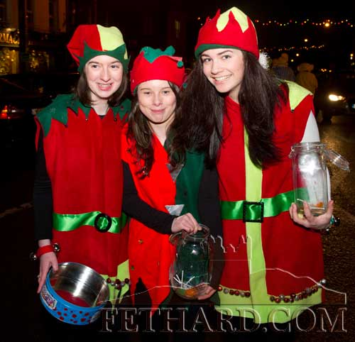 Santa's helpers enjoying the fun at Fethard's 'Festive Friday' on December 7. L to R: Michelle Walsh, Danielle Sheehan and Tara Horan