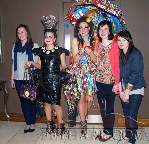 Fethard Presentation Patrician Secondary School pupils who have qualified for the finals of Junk Kouture in Dublin. The girls are photographed at the semifinals held in the Strand Hotel in Limerick on Sunday, April 1. L to R: Karen Hayes, Svetlana Novikova, Aobh O'Shea, Michelle Walsh and Danielle Sheehan.