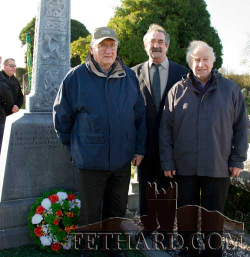Photographed at the George Plant 70th Anniversary Commemoration at St. Johnstown are L to R: George Plant (junior) son of the late George Plant; master of ceremonies, Cllr Liam Walsh, Sinn Fein; and Marcus Fogarty, organising committee.