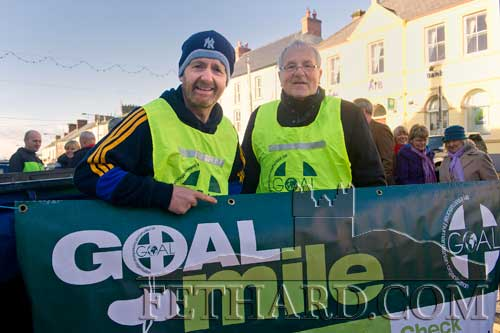 Looking after entries in the 'Goal Mile' on Christmas Day in Fethard are L to R: Colm McGrath and Waltie Moloney