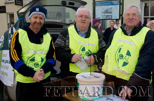 "Organisers of this year's GOAL Mile in Fethard photographed at the starting point are L to R"" Colm McGrath, Miceál McCormack and Waltie Moloney"