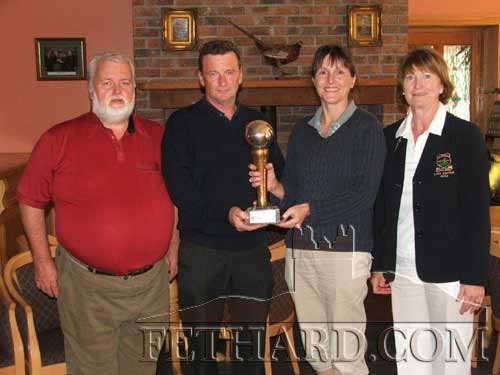 Winners of the 'Carrigan Trophy' in memory of the late John and Bitsy Carrigan, Clonacody. L to R: Brendan Kenny (Club Secretary), Michael O'Meara (gents winner), Marion Power (ladies winner) and Kathleen Shanley (Lady Captain).