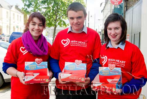 Fethard TY pupils helping to sell 'Happy Heart' badges last weekend in Fethard L to R: Tara Horan, James Maher and Michelle Walsh.