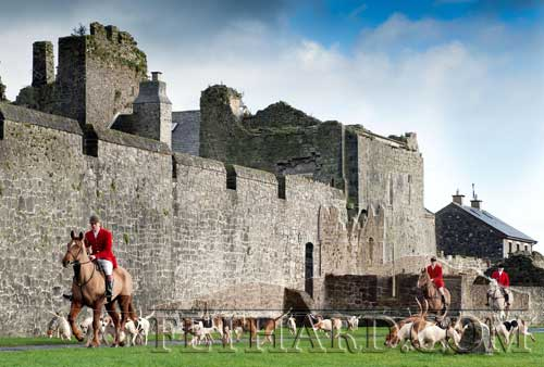 Tipperary Foxhounds arriving by Fethard Town Wall at their meet in Fethard in January 2.