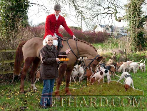 Marion Goodbody with some refreshments for Huntsman Derry Donegan at the Tipperary Foxhounds meet in Fethard on January 2